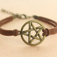 Supernatural inspiron--pentacle bracelet,Pentagram pendant, antique bronze charm bracelet,brown cord bracelet,personalized gift,MORE COLORS