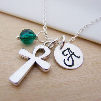 Ankh Charm Swarovski Birthstone Initial Personalized Sterling Silver Necklace / Gift for Her