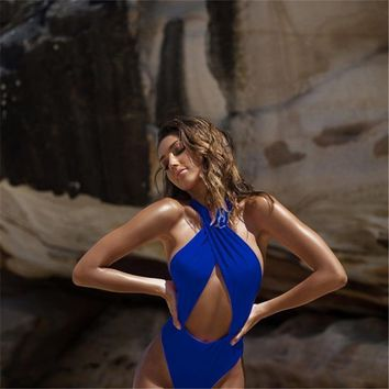 Sexy Women Summer One Piece Swimsuit Halter Swimdress Swimwear Bathing Suit LIN