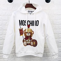 Moschino New fashion letter bear hooded long sleeve sweater top White