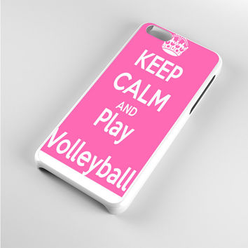 Keep Calm Play On Volleyball Pink iPhone 5c Case