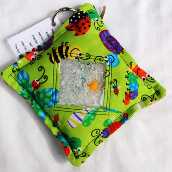 I Spy Bag with detachable item list, Cute Green Bugs, Lady Bugs, Dragonfly, Butterfly, Caterpillar, Bee