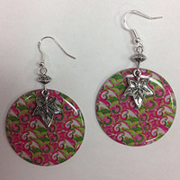 Pink and Green Paisley Ivy Leaf Earrings - Perfect for the AKA 20 Pearl Girl!