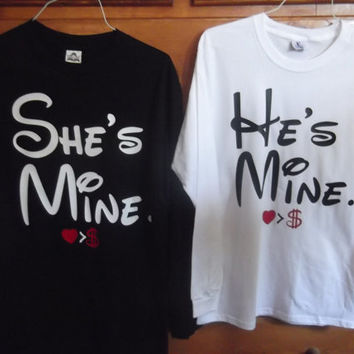 Disney He's Mine She's Mine Couples Long Sleeve T-Shirts