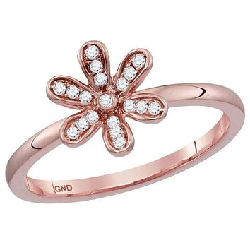 14kt Rose Gold Women's Round Diamond Flower Floral Stackable Band Ring 1/10 Cttw - FREE Shipping (US/CAN)