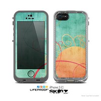 The Vintage Green Grunge Texture with Orange Skin for the Apple iPhone 5c LifeProof Case