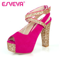 ESVEVA Sequined Cloth Sexy Women Sandals Buckle Strap Thick High Heel Peep Toe Women Shoe  Lady Platform Wedding Shoe Size 34-43