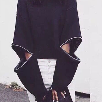 Black High Neck Zipper Hollow Sleeve Sweater
