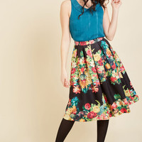 Bouquet of Beauty A-Line Skirt in Noir | Mod Retro Vintage Skirts | ModCloth.com