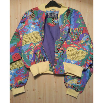 80s Crazy Cropped Batwing Graphic Print Bomber Jacket Hipster Indie Slimepunk Seapunk Graffiti Ironic