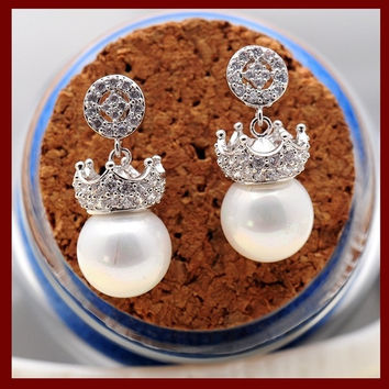 Queen's Jewelry Micro-inlay AAA CZ Gem Crown Imitation Pearl Stud Earrings with 925 Silver Needle,Fashion Jewelry For Wedding or Bride