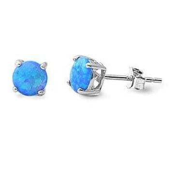 7mm Round Created Opal Sterling Silver Stud Earrings - Blue