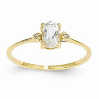 14k Yellow Gold Diamond White Topaz Ring