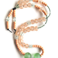 Long beaded necklace with sea green, peach, and clear glass Ghanian and Native American crow beads Fall fashion