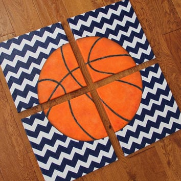 4 paintings 8 x 10 or 12 x 12 Chevron Basketball Blue Canvas Art Boys Bedding Room Decor-You pick sport!