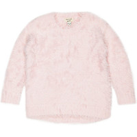 River Island Mini girls pink eyelash sweater