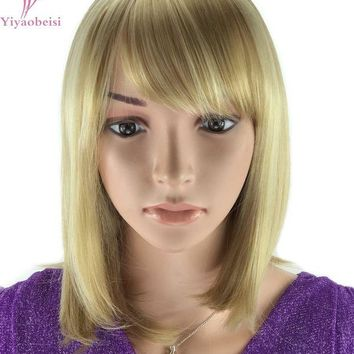 CUPUPO2 Yiyaobess 30cm Highlights Blonde Ombre Wig For Women Heat Resistant Synthetic African American Medium Bob Wigs With Bangs