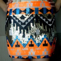 Neon Orange Aztec Sequin Skirt- $68