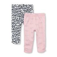 Baby Girls Kitty Ruched Knit Pants 2-Pack