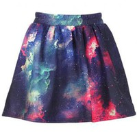 Colorful Clouds Print Elastic Skirt S009872