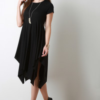 Jersey Knit Asymmetrical Hem Short Sleeve Dress