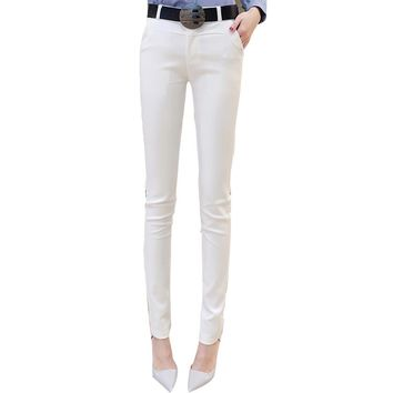 Fashion Summer Autumn Students Ladies Pencil Pants Mid Waist Thin Button Trouser Solid Trousers