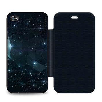 Night Sky Constellations Leather Wallet Flip Case iPhone 4 | 4S