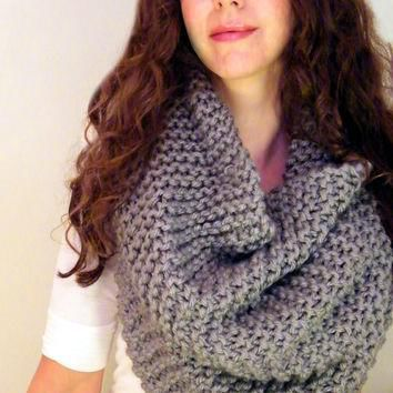 Oversized Cowl Womens Scarf Hooded Cowl Chunky Large Cowl Huge Snood Grey Knit Cowl Bi