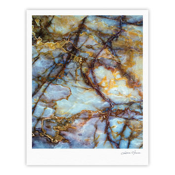 "KESS Original ""Opalized Marble"" Blue Brown Fine Art Gallery Print"
