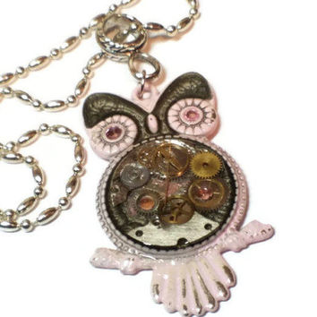 Steampunk Owl with Pink and Silver Rustic Paint, Watch Parts Owl Necklace, Rustic Steampunk Owl Pendant Necklace, Pink and Silver Owl