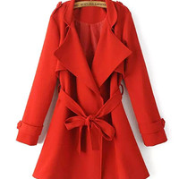 Red Belted Trench Coat