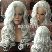 Ombre Long Wavy Silver Grey Hair Wig Synthetic Gray Lace Front Wigs Heat Resistant White Grey Loose Curly Wigs For Black Women