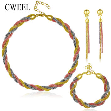 CWEEL Wedding Gold Plated 3 Color Necklace Fine Jewelry Sets Party Women African Beads Bridal Ring Bracelet Earrings Accessories