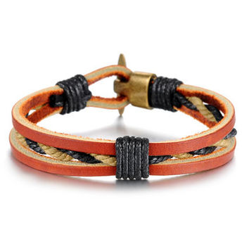 Genuine Leather Braided Rope with Bronze Alloy Buckle