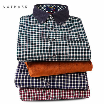 Mens Fleece Plaid Shirts Flannel Black Checkered Shirts Casual Men Clothing Winter Long Sleeve Velvet Checks Shirts Male