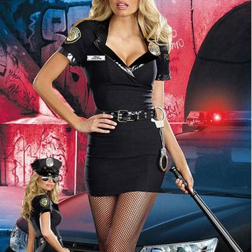 ICIKHY9 New Arrival 2016 High Quality Dirty Cop Officer Anita Bribe Costume For Women Cosplay Halloween Police Costume Outfits W418568