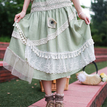 Vintage Embroidered Lace Patchwork Skirt