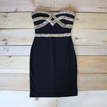 elegant black tie dinner party sequin dress