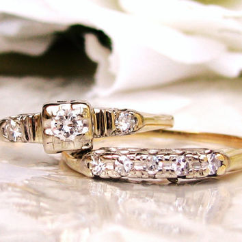 Art Deco Engagement Ring 0.25ctw Diamond Art Deco Bridal Set 14K Two Tone Gold Petite Diamond Wedding Ring Vintage Engagement Set Size 8!
