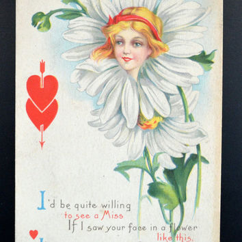 Vintage Stetcher Valentine Postcard, Signed Helen Jeffers, Nouveau Flower Face Woman
