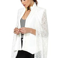 Elliatt Cape Blazer - White Crochet