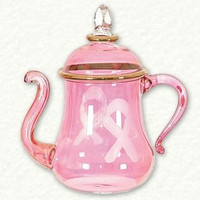LIMITED EDITION Pink Ribbon Breast Cancer Awareness Teapot / Coffee Pot Egyptian Glass Ornament