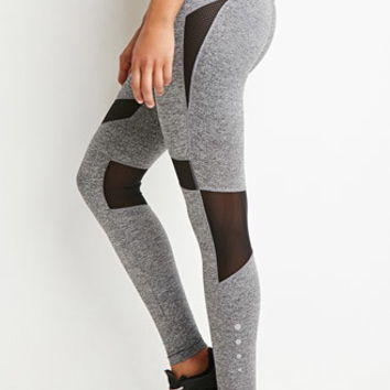 Heathered Mesh Panel Athletic Leggings
