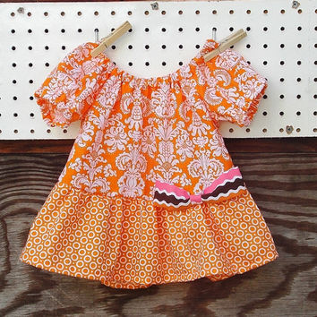 Baby Girl Fall Top , Peasant Dress, Orange and white, Bow, Thanksgiving,  12, 18, months and 2 T size