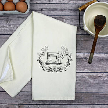 Kitchen Dish Towel - Tea Towel -  Vintage Sewing Machine