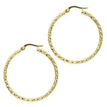14K Yellow Gold 1.5X27mm Shiny Diamond Cut Fashion Sparkle Large Hoop Earring  with Hinged Clasp