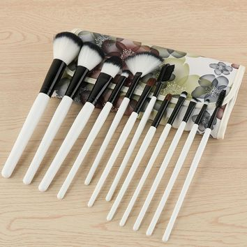 12 Pieces Synthetic Makeup Brush Set Foundatipn Powder Concealer Blending Eyeshadow Brush With Flora Leather Bag