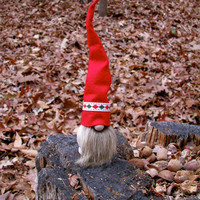 Swedish Tomte with Red Harlequin Hat and Brown Beard / Tomte Nisse / Scandinavian Christmas Tomte. Handmade by studioLISE.