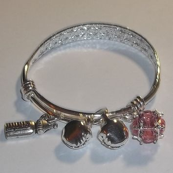 October Birthstone & Bells S80 Silver Hand Crafted Adjustable Baby Bracelet