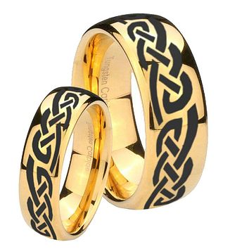 Bride and Groom Celtic Knot Infinity Love Dome Gold Tungsten Men's Engagement Ring Set